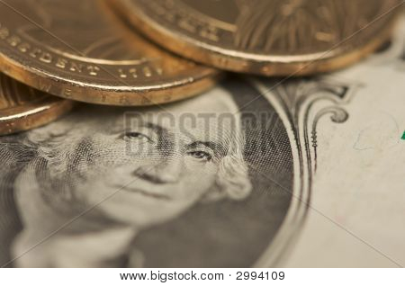 Abstract U.S. Dollar Coins & Bills
