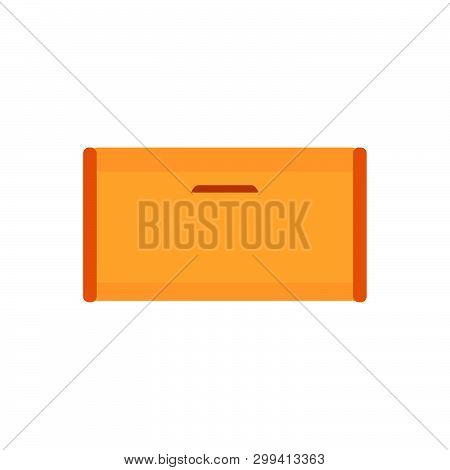 Breadbasket Wooden Brown Box Vector Icon Front View. Starvation Container Breakfast Bin Bake Illustr