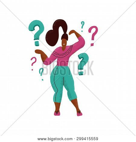 Hand Drawn Comic Woman With Questions Thinking And Contemplaining On White. Thinking Girl Standing U