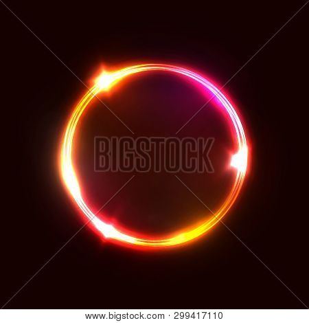 Neon Red Pink Circle Lamp Sign Isolated On Dark Red Background. Electric Geometric Shape Border With