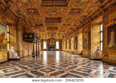 Hillerod, Denmark - June, 2016: Tourists Are Visiting The Grand Knights Hall Of The Frederiksborg Ca