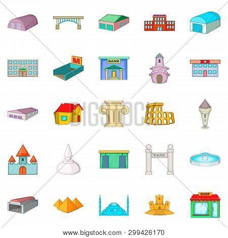 Urban Sprawl Icons Set. Cartoon Set Of 25 Urban Sprawl Icons For Web Isolated On White Background