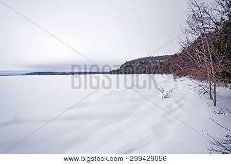 Winter On A Frozen Bay In The Great Lakes On Lkae Michigan In Peninsula State Park In Wisconson