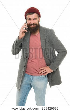 Difficulties Mobile Communication. Man Bearded Hipster Hold Mobile Phone White Background. Hipster S