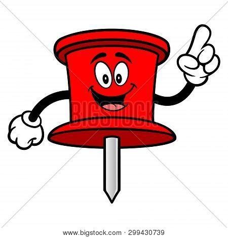 Push Pin Mascot Pointing - A Vector Cartoon Illustration Of An Office Push Pin Mascot.