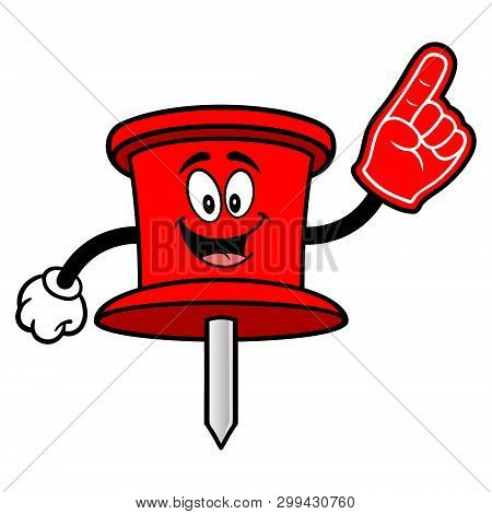 Push Pin Mascot With A Foam Hand - A Vector Cartoon Illustration Of An Office Push Pin Mascot.