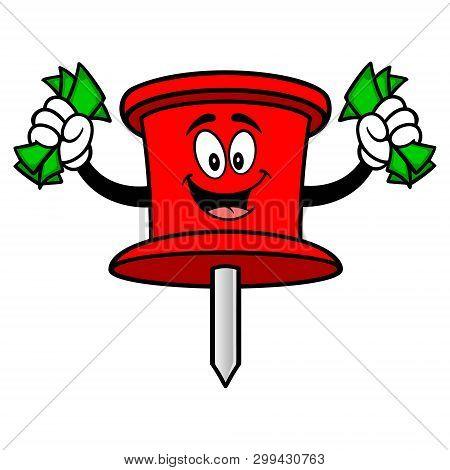 Push Pin Mascot With Money - A Vector Cartoon Illustration Of An Office Push Pin Mascot.