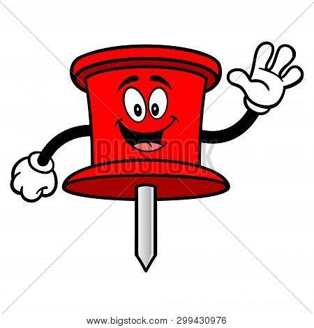 Push Pin Mascot Waving - A Vector Cartoon Illustration Of An Office Push Pin Mascot.