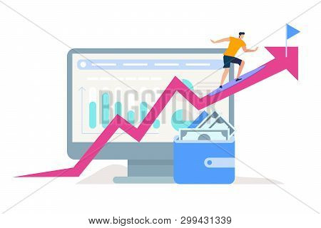 Young Man Climbing Up To Flag Target By Pink Crooked Arrow On Huge Monitor With Graphs And Charts Ba