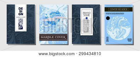 Cool Purple Blue Marble Ink Texture Cover Set. A4 Vector Liquid Paint Fashion Magazine Design. Ebru