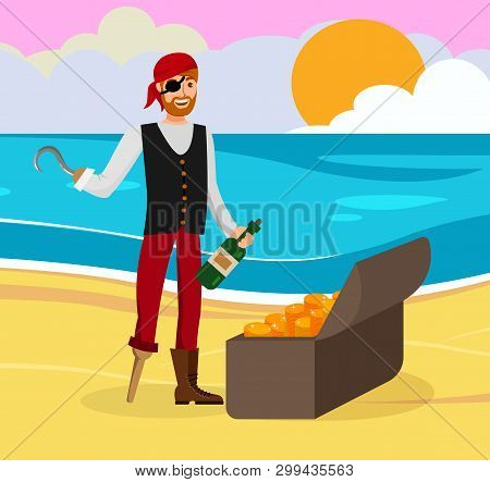 Pirate Found Gold Flat Color Cartoon Character. Man In Bandana And Eyepatch Vector Illustration. Guy