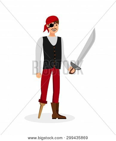 Cheerful Pirate With Sword Flat Color Illustration. Young Man In Vest And Bandana Cartoon Character.