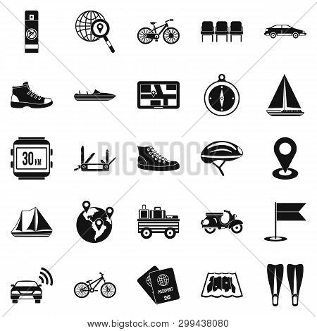 Peregrinate Icons Set. Simple Set Of 25 Peregrinate Icons For Web Isolated On White Background