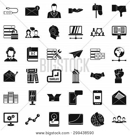 Cooperation Icons Set. Simple Style Of 36 Cooperation Icons For Web Isolated On White Background