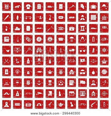 100 Offence Icons Set In Grunge Style Red Color Isolated On White Background Illustration
