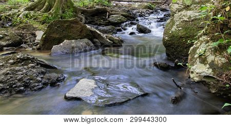 Web Banner Of A Creek Flowing Over Rocks And Moss-covered Tree Roots.