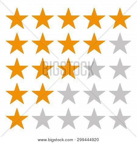 5 Star Rating Icon Vector Eps10. Rating Star Orange Star Vector Eps10. Gold Rating Stars