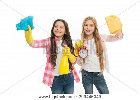 Household duties. Girls with rubber protective gloves ready for cleaning. Informal education. Girls kids cleaning according to duty. Cleaning check list. Kids cleaning together. Time for cleanup. poster