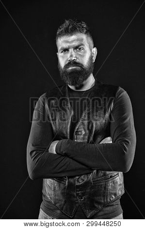 Brutal Caucasian Hipster With Moustache. Male Fashion. Facial Care. Mature Hipster With Beard. Beard