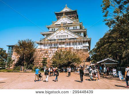 The Osaka Castle In Osaka, Japan.