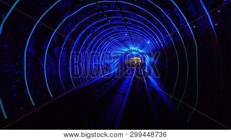 Shuttle Trains In Bund Sightseeing Tunnel. Metro Subway Train In Shanghai City, China. Tunnel Of Lig