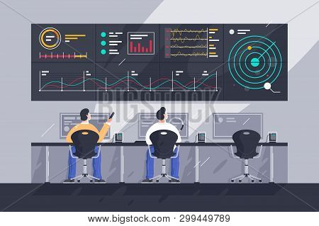 Flat Young Men Employee With Screens With Charts At Control Center. Concept Businessman Character At