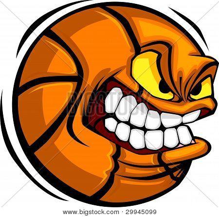Basketball Face Cartoon Ball Vector Image