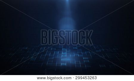 3d Render Of A Spotlight Shining Down Over Dark Background And Futuristic Sci Fi Floor.