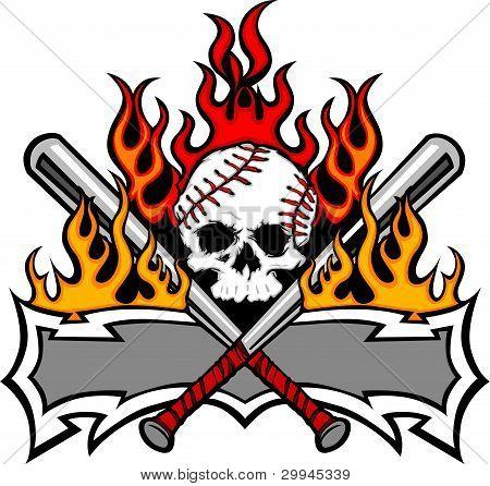 Softball Baseball Skull And Bats Flaming Template Image