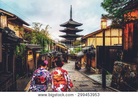 Kyoto, Japan Culture Travel - Asian Traveler Wearing Traditional Japanese Kimono Walking In Higashiy