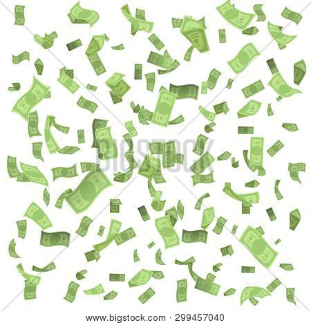 Isolated On White Money Rain Fall Earnings Luck Fortune Banknote Flying Floating Confetti 3d Realist
