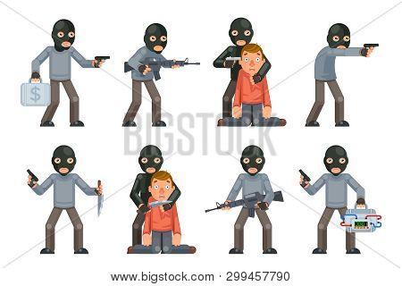 Terror Danger Risk Soldier Hostage Threat Villain Terrorist Weapon Attack Criminal Character Cartoon