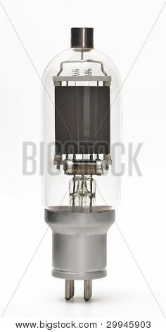 Vacuum Tube - Old Electronic Component Isolated On White Background