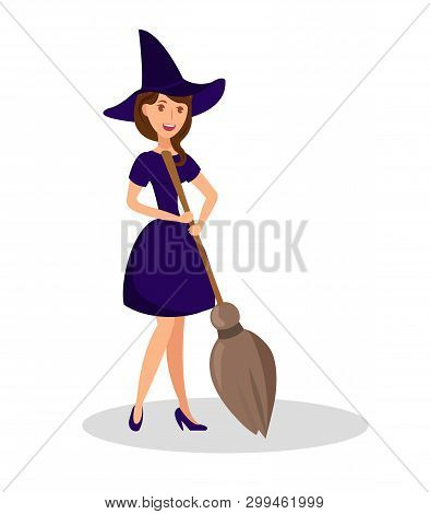 Witch Holding Broomstick Flat Color Illustration. Young Woman In Spooky Outfit With Hat Cartoon Char