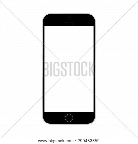 Black Smartphone Iphone With White Screen On White Background Vector Eps10. Smartphone Iphone With W
