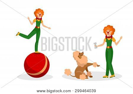 Friendly Clowns Rehearsal Flat Color Illustration. Performer With Bow Tie Training Poodle. Women In