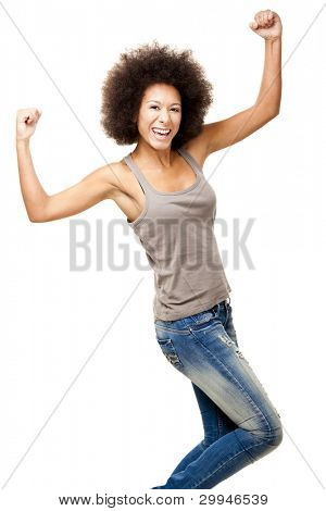 Happy Afro-American young woman isolated on white with arms on the air
