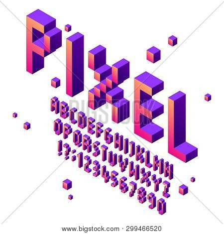 Isometric Pixel Art Font. Arcade Game Fonts Alphabet, Retro Gaming Cubic Typographic Lettering Sign