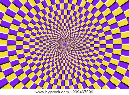 Optical Spiral Illusion. Magic Psychedelic Pattern, Swirl Illusions And Hypnotic Abstract Background