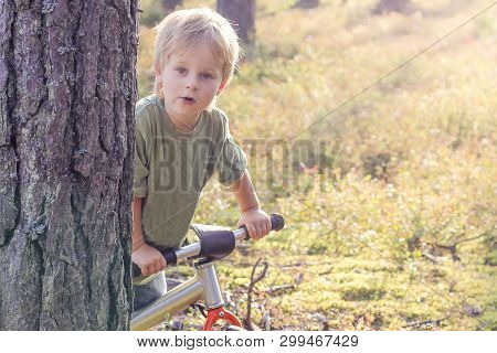 Boy Riding A Bike In The Forest. Lifstyle Concept