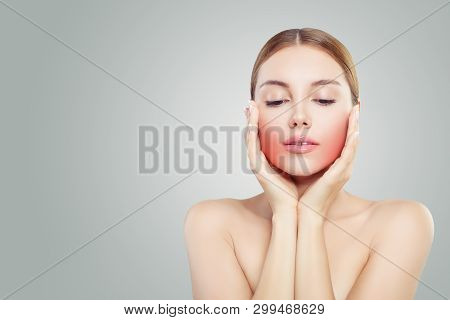 Beautiful Face. Pretty Woman Holding Her Face In Her Hands. Unhappy Woman With Toothache