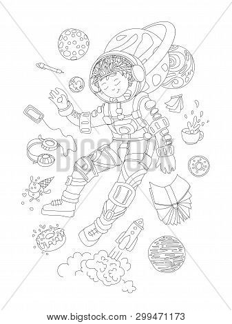 Cute Hand Draw Coloring Page With Brave Astronaut, Cosmonaut Girl - Cute Girl Floating In Space With