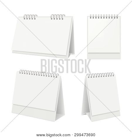 Desk Calendar. Organizer With Blank Pages Diary Calendar On Table Vector Realistic Mockup. Illustrat