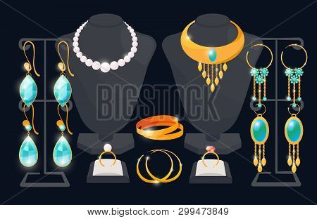 Jewelry Shop Window Vector Concept. Earrings And Necklace. Expensive Ring And Accessory, Luxury Neck