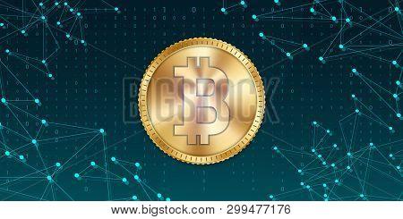 Creative Vector Illustration Of 3d Golden Bitcoin Coin Isolated On Background. Art Design Digital Cu