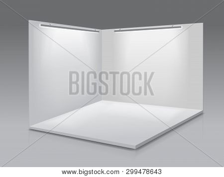 Blank Display Exhibition Stand. White Empty Panels, Podium For Presentations On The Gray Background