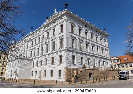 Schwerin, Germany - April 16, 2019: State Chancellery Building In Te Historic Center Of Schwerin, Ge