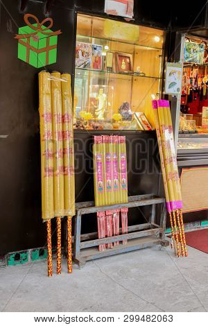 Nongping, Hongkong - 29 March 2019 Close Up Of Shops Sell Big Incense At Nong Ping Village On 29 Mar