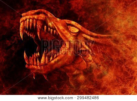 Dragon - Fire. Fire Dragon Comes Out Of The Fire