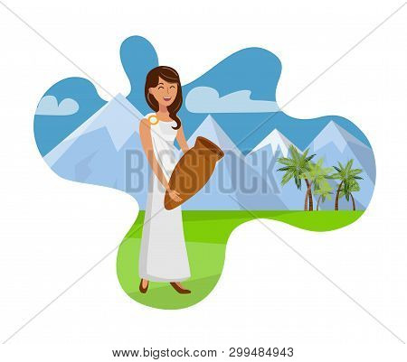 Attractive Lady With Pitcher Vector Illustration. Young Woman In Toga, Tunic Cartoon Character. Chee
